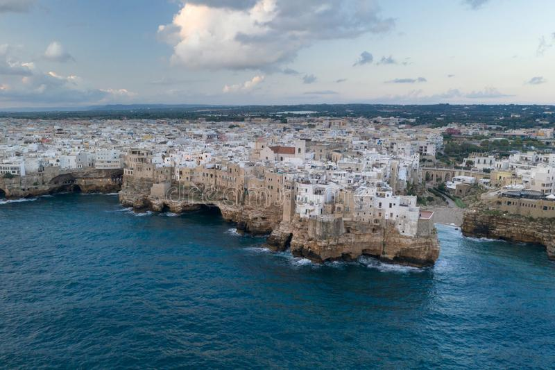 Polignano a Mare, aerial view above the sea stock images
