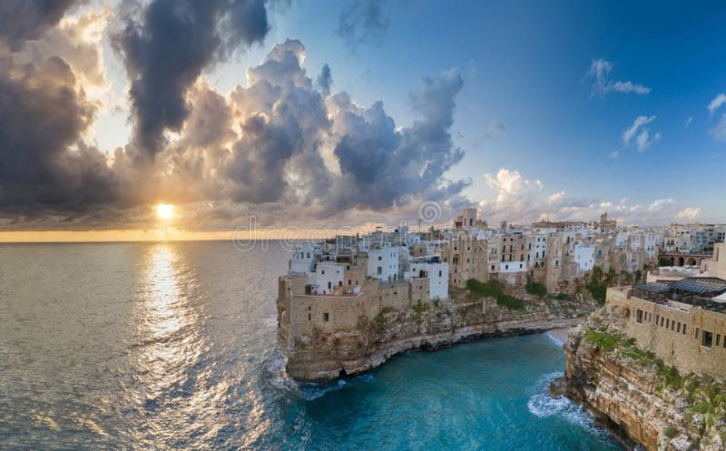 Polignano a Mare, aerial view above the sea, royalty free stock image