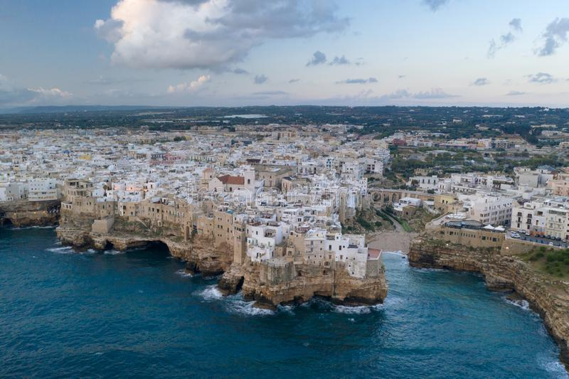 Polignano a Mare, aerial view stock images