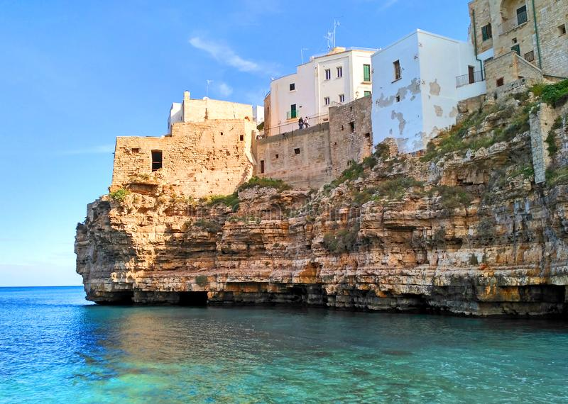 Polignano a mare, scenic seaside in Puglia, Italy. The city is a town and comune in the Metropolitan City of Bari, Apulia, southern Italy, located on the stock image