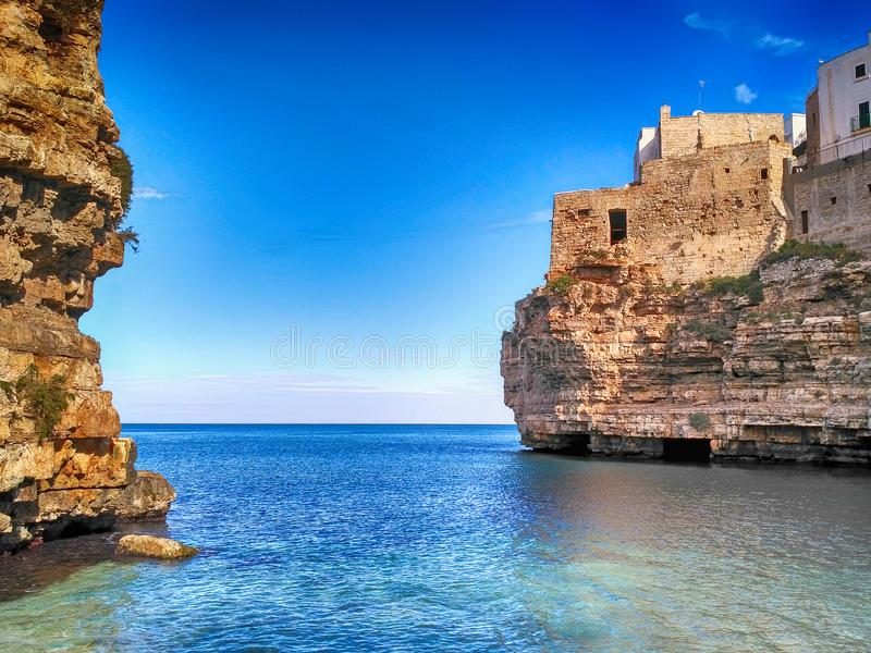 Polignano a mare, scenic small village in Puglia, Italy. Polignano a mare, scenic seaside in Puglia, Italy. The city is a town and comune in the Metropolitan royalty free stock photos