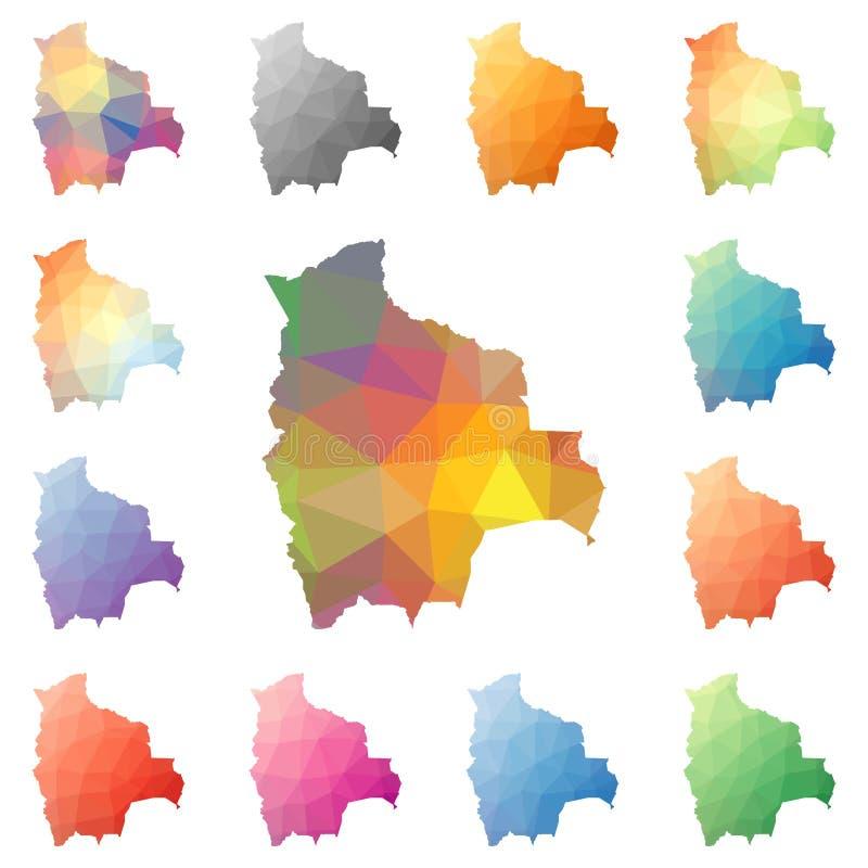 Poligonais geométrico de Bolívia, mapas do estilo do mosaico ilustração royalty free