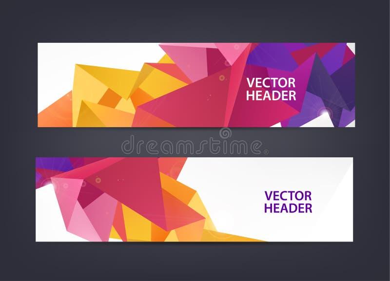 Poligonal abstracto, mosaico, colección geométrica, triangular de las banderas del modelo 3d Jefes del web de la faceta, horizont stock de ilustración