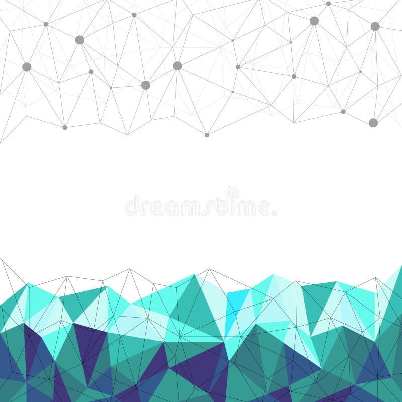 Poligonal azul abstracto, línea y punto con el fondo blanco, vector imagen de archivo libre de regalías