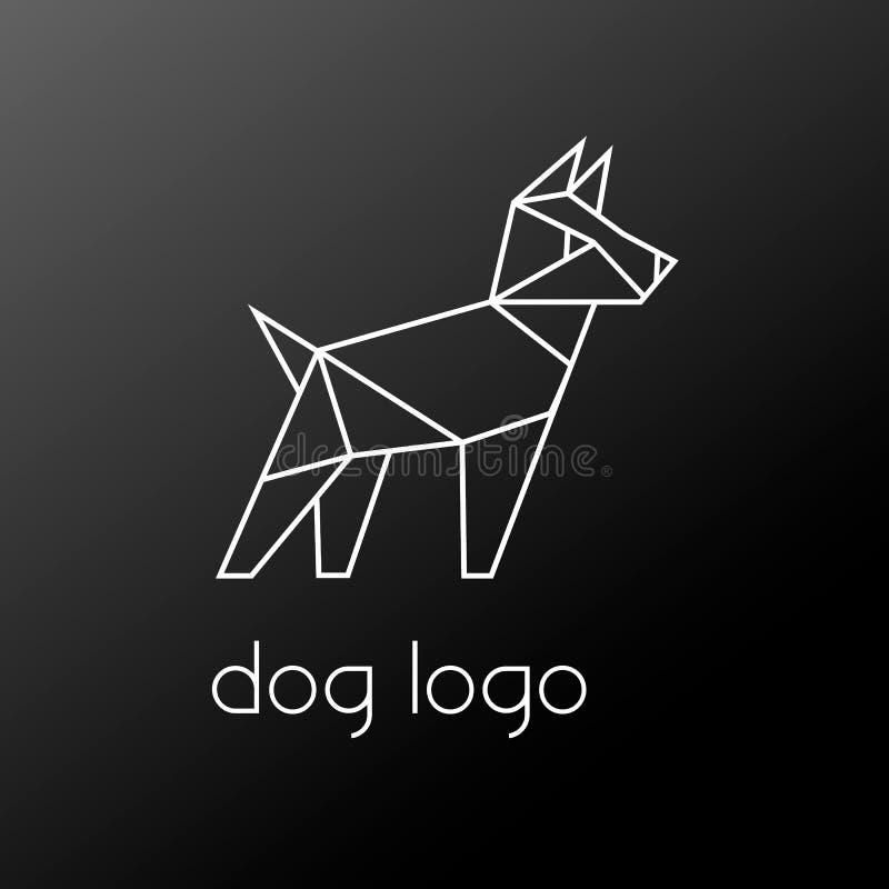 Poligonal bielu psa geometrical logo odizolowywający na czarnym tle ilustracja wektor