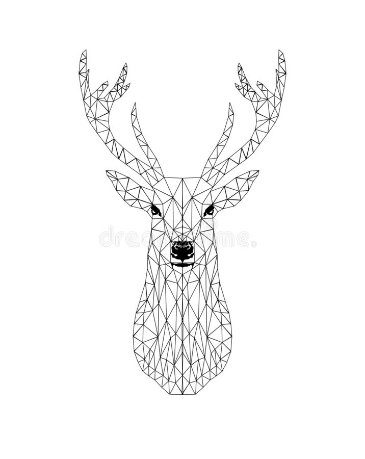 Poligonal black deer head design. vector illustration