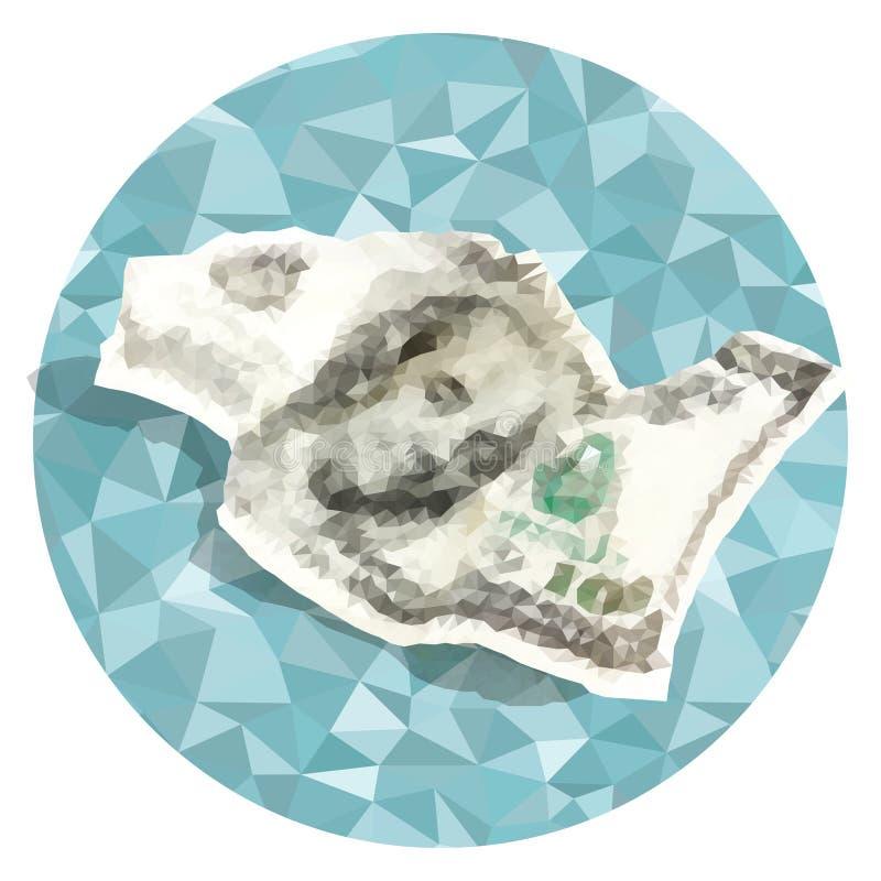 Poligonal del vector arrugado cientos dólares ilustración del vector