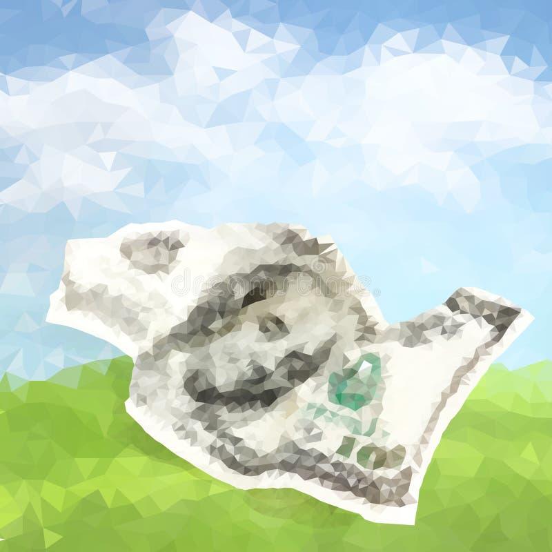 Poligonal del vector arrugado cientos dólares libre illustration