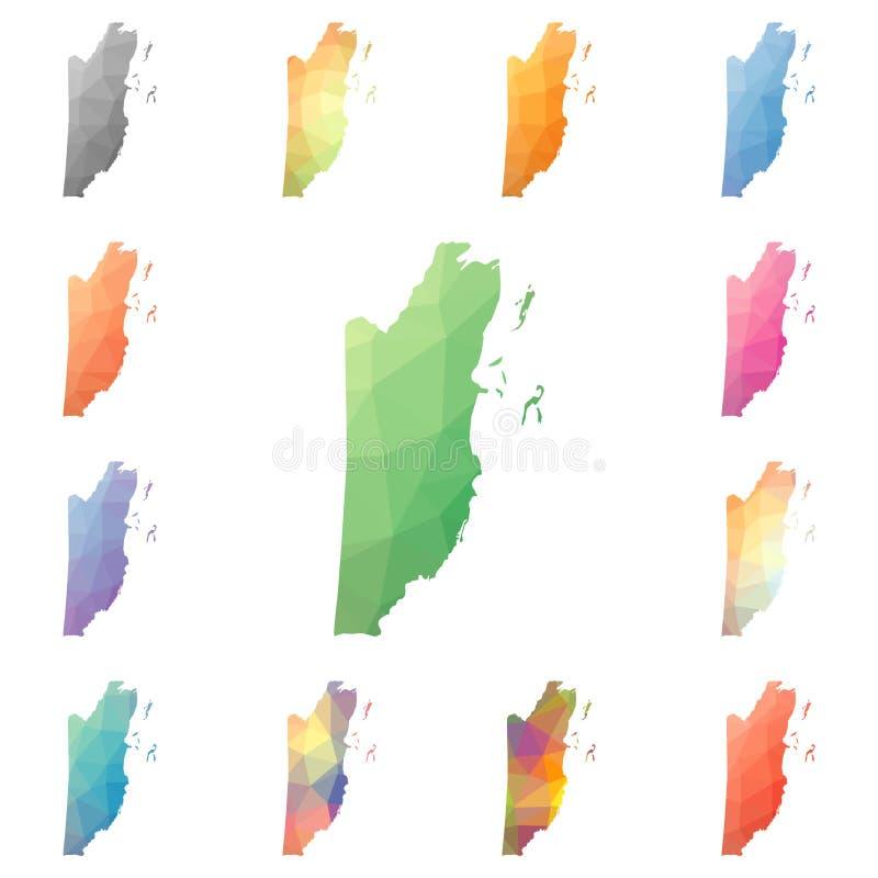 Poligonal geométrico de Belice, mapas del estilo del mosaico ilustración del vector