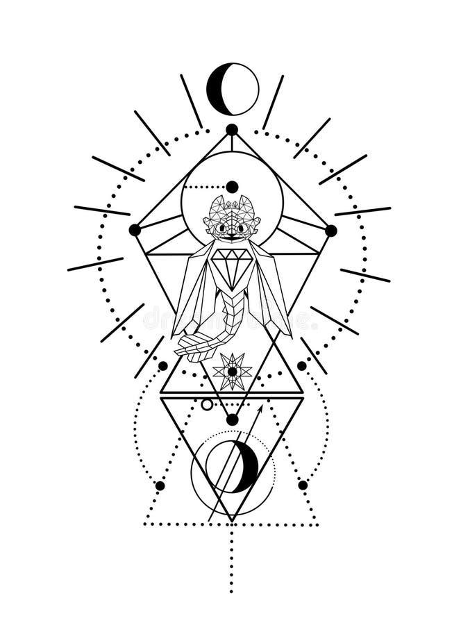 Poligonal stammenart. van de nachtwoede Hoe te om Uw Draak op te leiden Dragon Tattoo Design stock illustratie