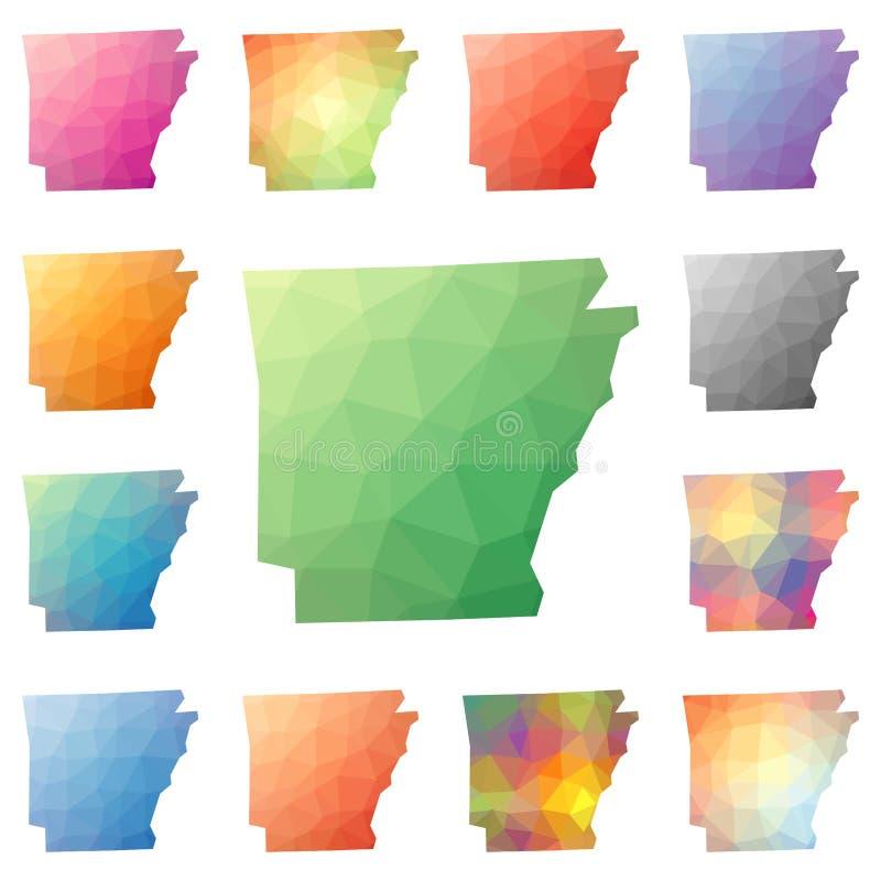 Poligonali geometrici dell'Arkansas, mosaico ci disegnano illustrazione vettoriale