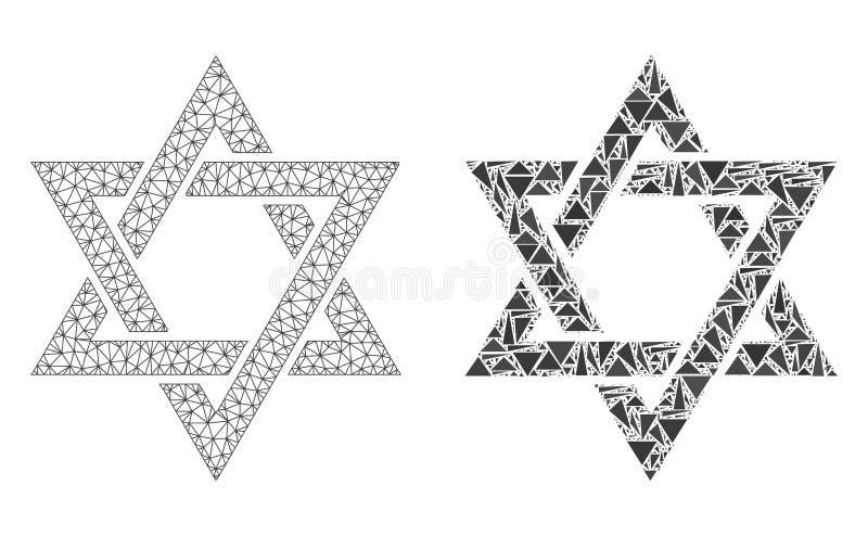 Poligonalna ścierwo siatki David gwiazda i mozaiki ikona royalty ilustracja