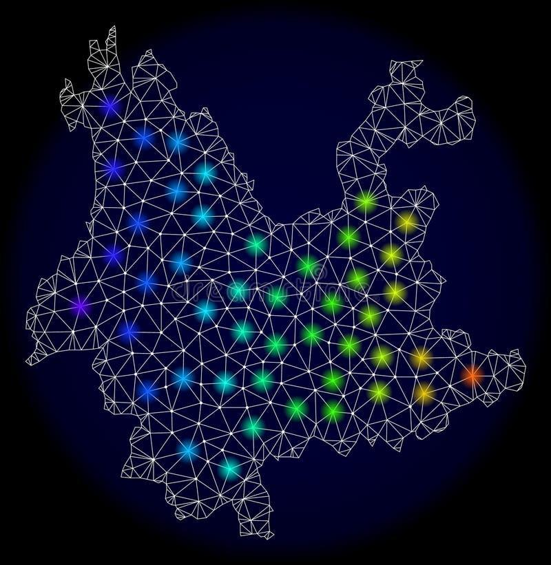 Poligonalna ścierwo siatki mapa Yunnan prowincja z Kolorowymi Lekkimi punktami ilustracji