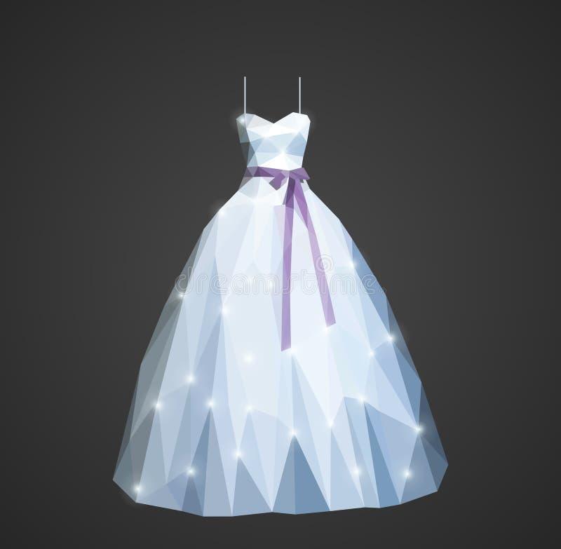 Poligonalna ślubna suknia z olśniewającymi cekinami i purpura paskiem ilustracja wektor