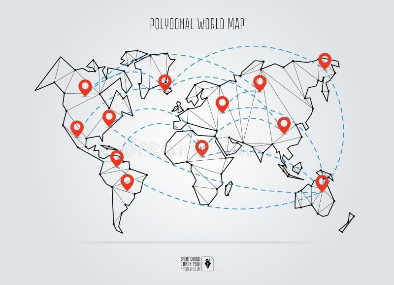 Poligonalna abstrakcjonistyczna światowa mapa również zwrócić corel ilustracji wektora royalty ilustracja