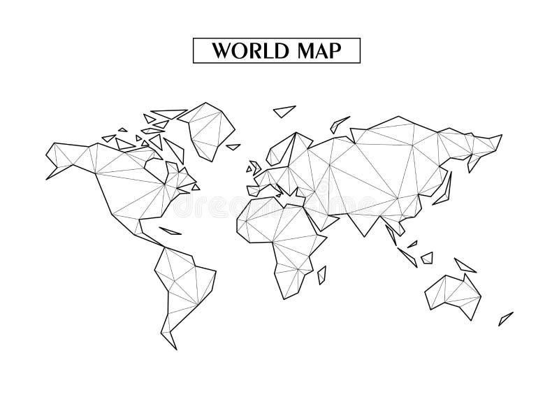 Poligonalna abstrakcjonistyczna Światowa mapa z związanymi trójgraniastymi kształtami tworzył od linii Dobry plakat dla ściany w  ilustracji