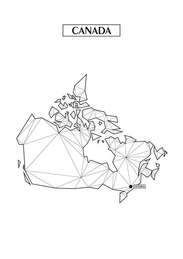 Poligonalna abstrakcjonistyczna mapa Kanada z związanymi trójgraniastymi kształtami tworzył od linii Kapitał miasto - Ottawa Dobr ilustracji