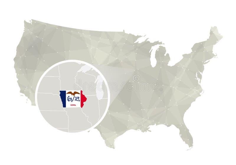 Poligonalna abstrakcjonistyczna usa mapa z powiększającym Iowa stanem ilustracji