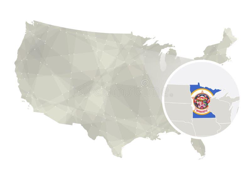 Poligonalna abstrakcjonistyczna usa mapa z powiększającym Minnestoa stanem ilustracja wektor