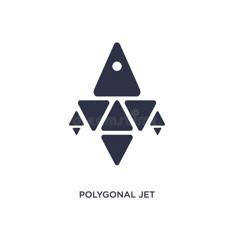 poligonalna dżetowego samolotu ikona na białym tle Prosta element ilustracja od geometrii pojęcia ilustracja wektor