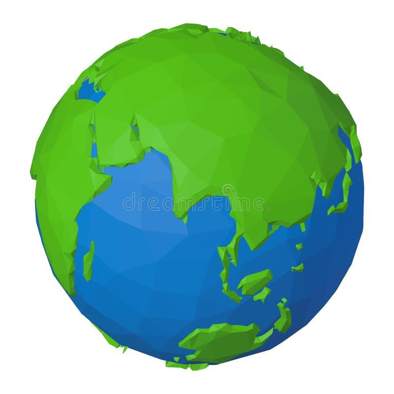 Poligonalna 3D ikona Eurasia i ocean indyjski na planety ziemi ilustracja wektor