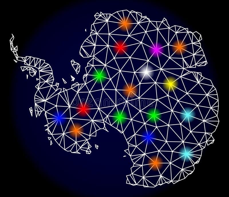 Poligonalna 2D siatki mapa Antarctica z Jaskrawymi Lekkimi punktami ilustracji