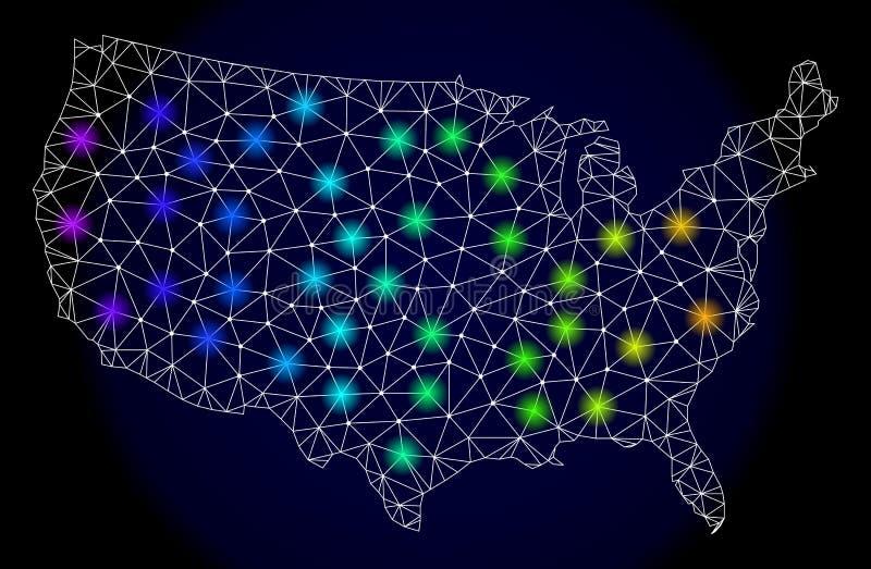 Poligonalna 2D siatki mapa Stany Zjednoczone z Jaskrawymi Lekkimi punktami ilustracja wektor