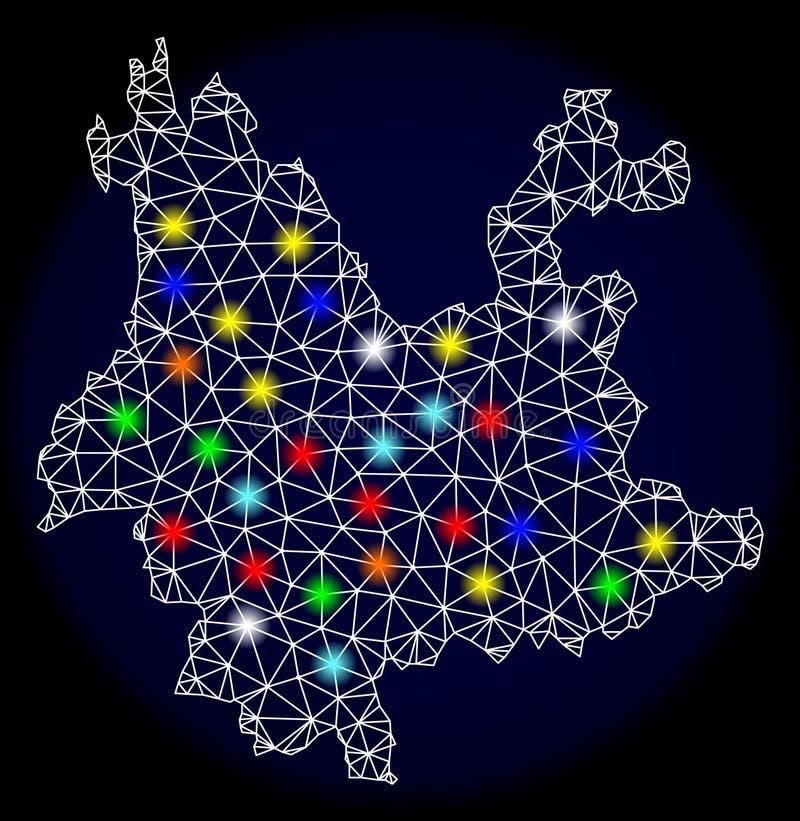 Poligonalna 2D siatki mapa Yunnan prowincja z Kolorowymi Lekkimi punktami royalty ilustracja