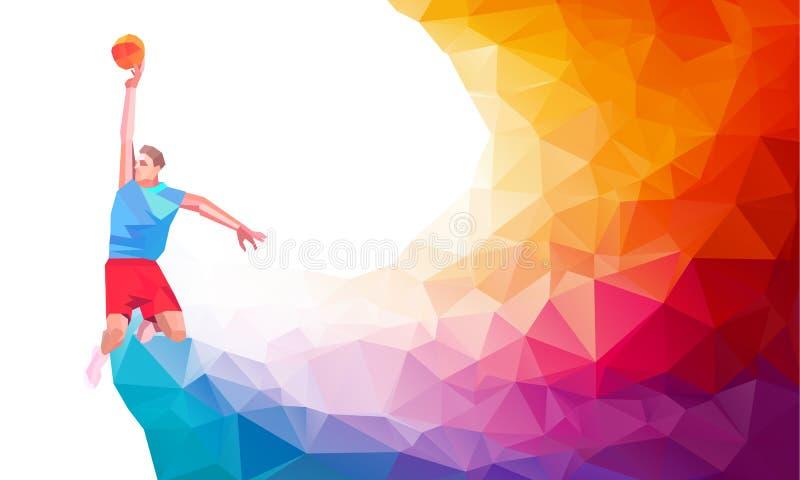 Poligonalna geometryczna stylowa ilustracja gracza koszykówki rzut z wyskoku bluzy mknący doskakiwanie przeglądać od strona setu royalty ilustracja