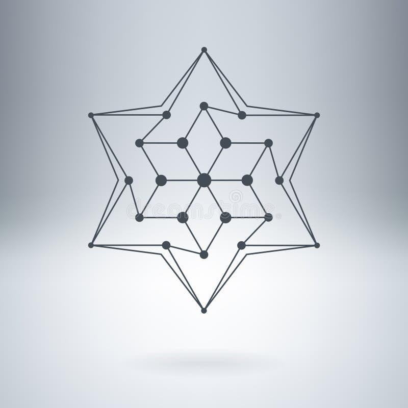 Poligonalna gwiazda, Nowożytny elegancki logo Projekta element z guzkami ilustracja wektor