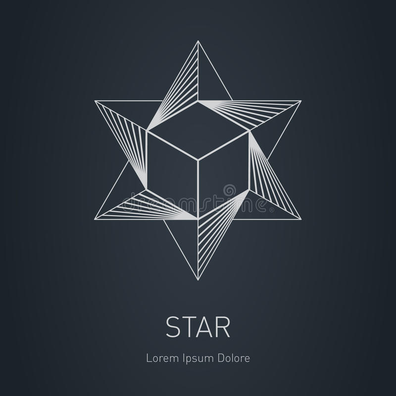Poligonalna gwiazda z sześcianem inside Nowożytny elegancki logo Projekta ele ilustracja wektor