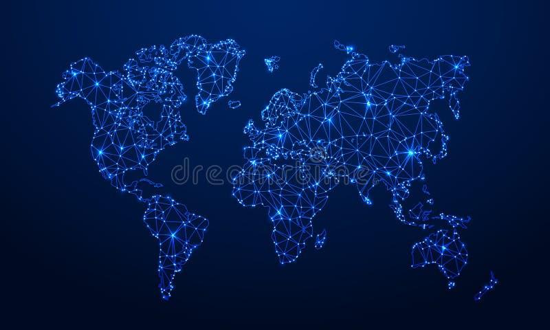 Poligonalna mapa Cyfrowej kuli ziemskiej mapa, błękitne wielobok ziemi mapy i światowy połączenia z internetem 3d siatki wektoru  royalty ilustracja