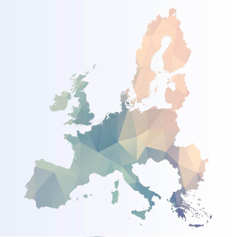 Poligonalna mapa Eu ilustracja wektor