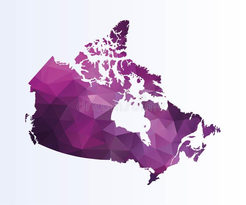 Poligonalna mapa Kanada ilustracja wektor