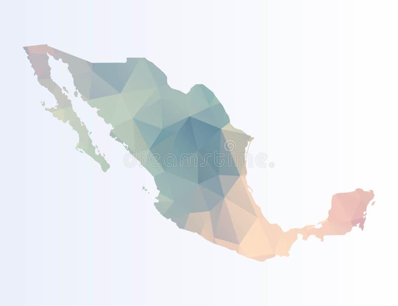 Poligonalna mapa Meksyk royalty ilustracja