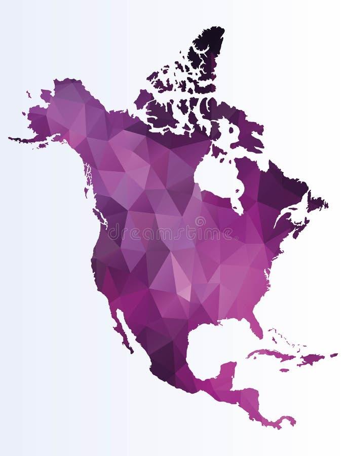 Poligonalna mapa Północna Ameryka ilustracji