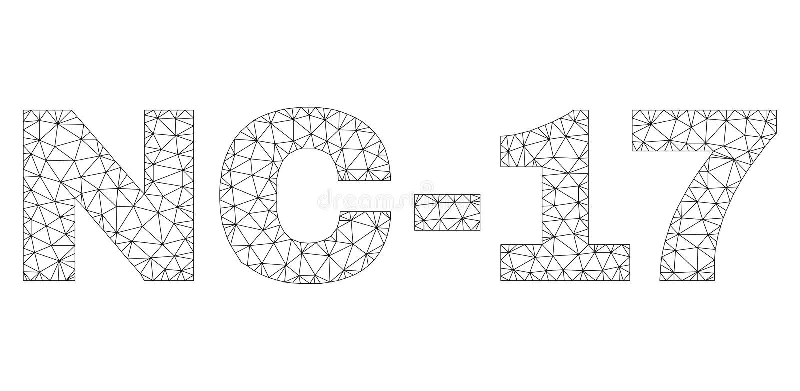 Poligonalna sieci NC-17 teksta etykietka ilustracja wektor