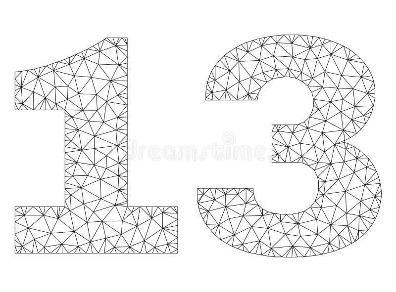 Poligonalna sieci 13 teksta etykietka royalty ilustracja
