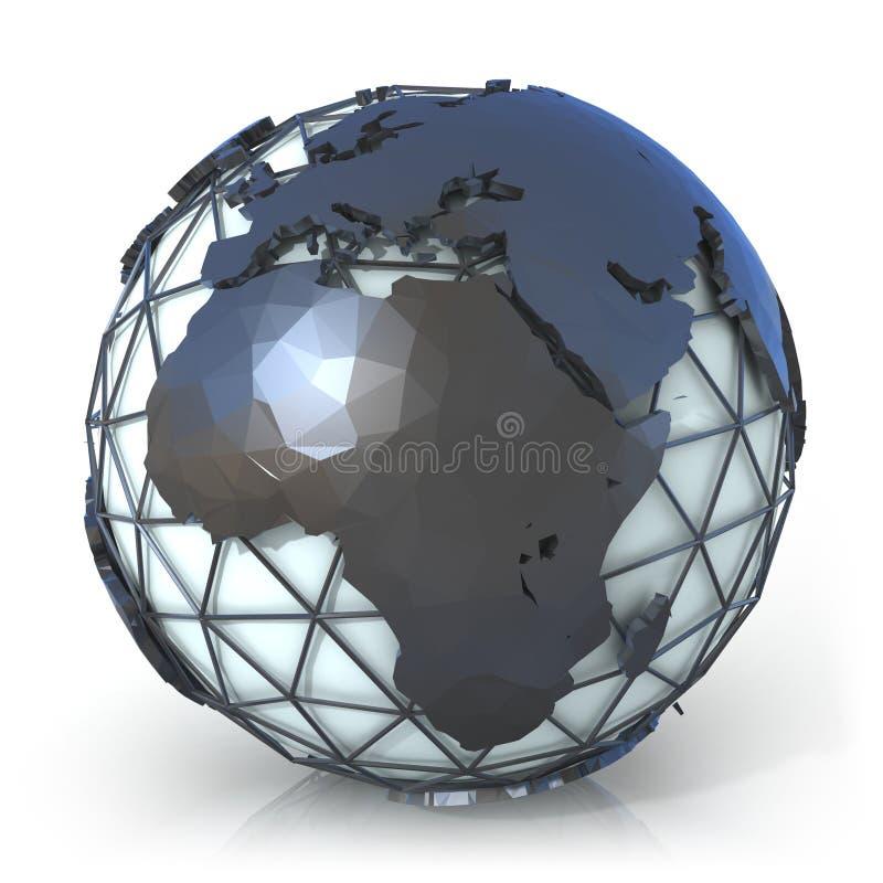 Poligonalna stylowa ilustracja ziemska kula ziemska, widok, Europa i Afryka ilustracja wektor
