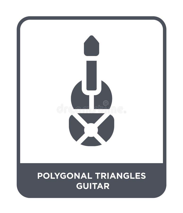 poligonalna trójbok gitary ikona w modnym projekta stylu poligonalna trójbok gitary ikona odizolowywająca na białym tle poligonal ilustracja wektor