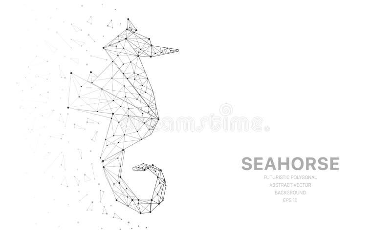 Poligonalna wireframe siatka futurystyczna z seahorse, znak na białym tle Wektor linie, kropki i trójboków kształty, ilustracja wektor