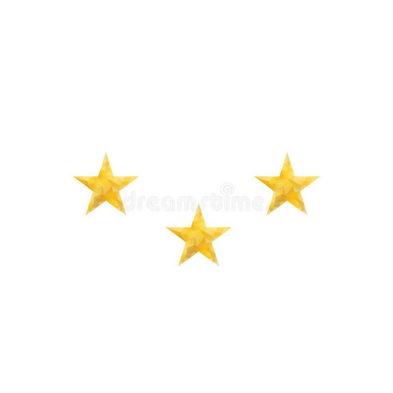 Poligonalna złoto gwiazda odizolowywająca Niski poli- styl zdjęcie stock