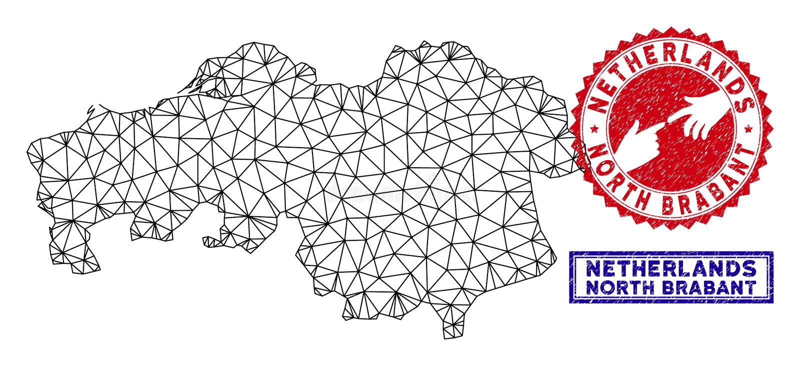 Poligonalnego ścierwa Brabant Grunge i mapy Północni Gubernialni znaczki ilustracja wektor