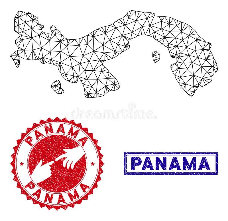 Poligonalnego ścierwa Grunge i mapy Panamscy znaczki ilustracja wektor