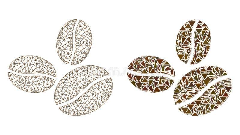 Poligonalnej ścierwo siatki Kawowe fasole i mozaiki ikona royalty ilustracja