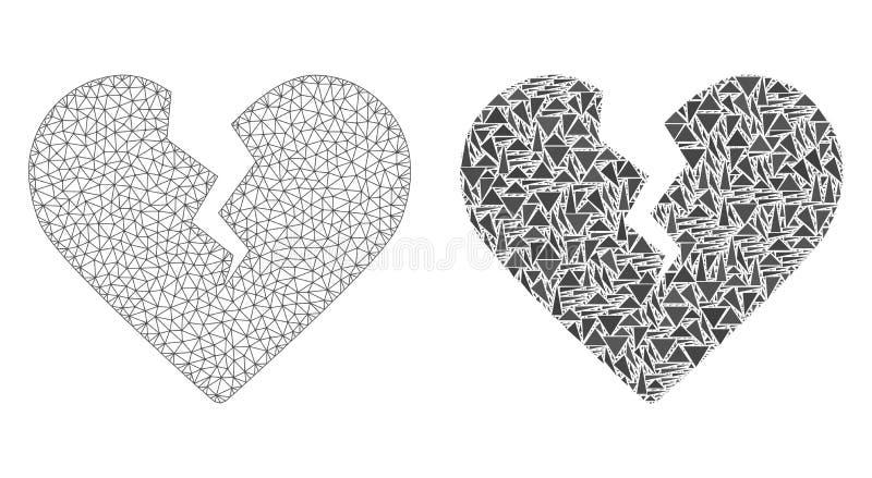 Poligonalnej 2D siatki Rozwodowy serce i mozaiki ikona ilustracji