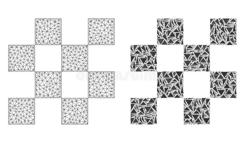 Poligonalnej 2D siatki Szachowe komórki i mozaiki ikona ilustracji