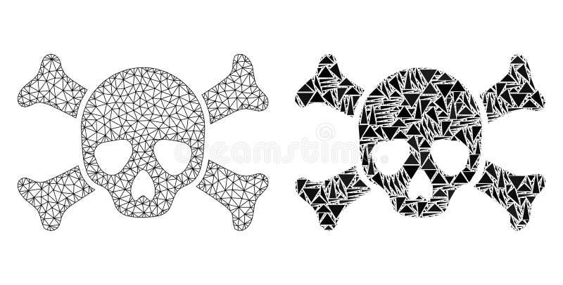 Poligonalnej drut ramy siatki Śmiertelna czaszka i mozaiki ikona ilustracji