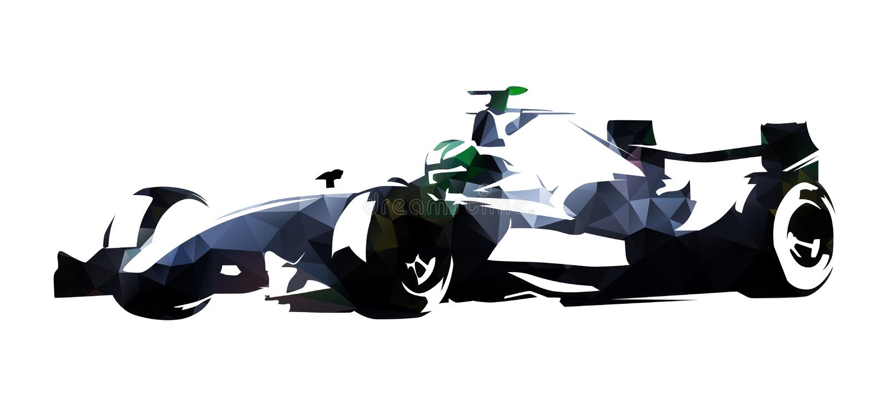Poligonalnej formuły bieżny samochód, abstrakcjonistyczna wektorowa ilustracja ilustracji