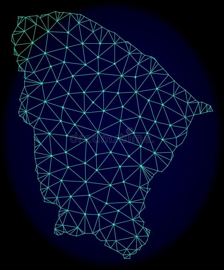 Poligonalnej sieci siatki Wektorowa Abstrakcjonistyczna mapa Ceara stan ilustracji